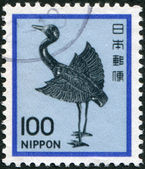 A stamp printed in Japan, depicts a silver statue of a crane, Heian period, circa 1981 — Stock Photo