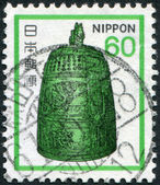 A stamp printed in Japan, depicts Hanging Bell, Byodoin Temple, circa 1980 — Stock Photo