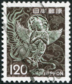 A stamp printed in Japan, depicts Mythical Winged Woman, Chusonji, circa 1972 — Stock Photo