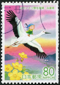 A stamp printed in Japan, the prefecture Hyogo, depicted Oriental Stork (Ciconia boyciana) and Kobold, circa 2005 — Stock Photo