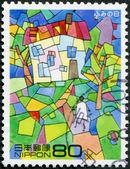 """Un sello impreso en japón, muestra una foto del """"mensaje de la selva"""" por anna romanovskaya (belarús), circa 1997 — Foto de Stock"""