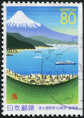 A stamp printed in Japan, the prefecture Shizuoka, depicted Shimizu Port, circa 1999 — Stock Photo