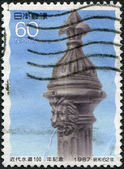 A stamp printed in Japan, dedicated to the 100th anniversary of modern plumbing, shows Modern Waterworks, Waterworks Museum, Yokohama, circa 1987 — Stock Photo
