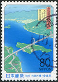 A stamp printed in Japan, Hiroshima Prefecture and Ehime, depicted Hakata-Oshima Bridge, circa 1999 — Stock Photo
