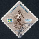 Un francobollo stampato in repubblica dominicana, la sala di lars campionessa olimpica, la svezia, pentathlon, intorno al 1957 — Foto Stock