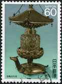 A stamp printed in Japan, shows a Buddhist relic, a golden turtle Sharito, circa 1987 — Stock Photo