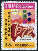 A stamp printed in the Dominican Republic, dedicated First National Philatelic Exhibition, Santo Domingo, circa 1972 — Photo