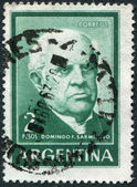 A stamp printed in the Argentina, depicts a political leader and writer Domingo Faustino Sarmiento, circa 1962 — Стоковое фото