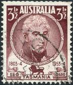 A stamp printed in Australia, shows a 1st Lieutenant Governor of Van Diemen's Land, David Collins, circa 1951 — Stock Photo