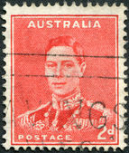 A stamp printed in Australia, depicts King George VI, circa 1938 — Stock Photo
