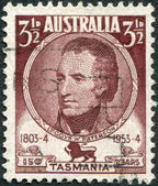 A stamp printed in Australia, shows the 1st Lieutenant Governor of Northern Van Diemen's Land, William Paterson, circa 1953 — Stock Photo