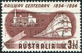 A stamp printed in Australia, is dedicated to Centenary of Australian railroad, shows Diesel and Early Steam Locomotives, circa 1954 — Stock Photo