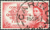 A stamp printed in Australia, is dedicated to the coronation of Elizabeth II, circa 1953 — Stock Photo
