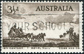 A stamp printed in Australia, is devoted to Pioneers of Australia's coaching era, depicted Cobb and Company Mail Coach, circa 1955 — Stock Photo