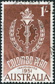 A stamp printed in Australia, dedicated to 10th anniversary of the Colombo Plan, shows the Emblem, circa 1961 — Stock fotografie