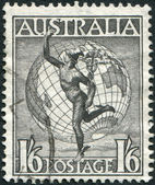 A stamp printed in Australia, shows Hermes and the Globe, circa 1949 — Stock Photo