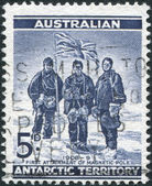 A stamp printed in Australia (Antarctic Territory), is depicted Edgeworth David, Douglas Mawson and A. F. McKay — Stock Photo