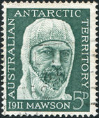 A stamp printed in Australia (Antarctic Territory), dedicated to 50th anniversary of the Antarctic expedition — Stock Photo
