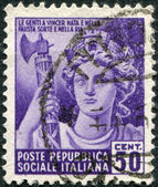 A stamp printed in Italy, shows an allegory Italia Turrita, circa 1944 — Stock Photo