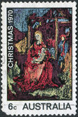 """A stamp printed in Australia, shows a painting """"Madonna and Child"""", by William Beasley, circa 1970 — Stock Photo"""