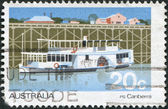 A stamp printed in Australia, shows Passenger Steamer Canberra, circa 1979 — Stock Photo