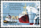 A stamp printed in Australia, is dedicated to 6th Biennial Conference of the International Association of Ports and Harbors, Melbourne — Stock Photo