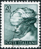 A stamp printed in Italy, shows Designs from Sistine Chapel by Michelangelo, Libyan Sybil, circa 1961 — Stock Photo