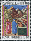 A stamp printed in Italy, is dedicated to the 700th anniversary of Dante Alighieri, is shown Farinata degli Uberti and Cavalcanti in Hell — Foto Stock