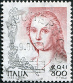 A stamp printed in Italy, shows the Lady with the Unicorn, by Raphael, circa 1998 — Fotografia Stock