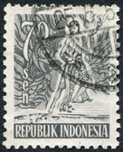 A stamp printed in the Indonesia, shows the mythological hero, circa 1953 — Stock Photo