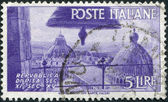 A stamp printed in Italy, shows a View of Cathedral Domes, Pisa, circa 1946 — Stock Photo