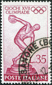 A stamp printed in Italy, devoted to 17th Olympic Games, Rome, depicts Myron's Discobolus, circa 1960 — Stock Photo