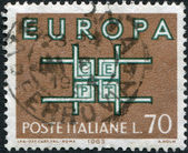 A stamp printed in Italy, is shown in the form of the ornament symbol CEPT, circa 1963 — Stock Photo