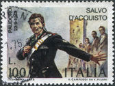 A stamp printed in Italy, shows a national hero in Italy Salvo D'Acquisto, circa 1975 — Stock fotografie