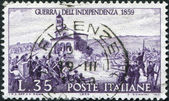 "A stamp printed in Italy, shows a picture of the ""Battle of San Fermo"" by Angelo Trezzini, circa 1944 — Foto Stock"