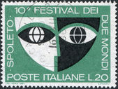 "A stamp printed in Italy, devoted to 10th ""Festival of Two Worlds"", Spoleto, shows the Stylized Mask, circa 1967 — Stock Photo"
