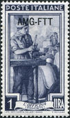 A stamp printed in Italy, shows the Auto mechanic, in the background Sacra di San Michele, Florence, (Piedmont), (overprint AMG FTT) — Stock Photo