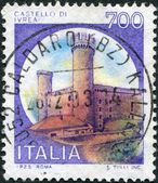 A stamp printed in Italy, shows Castle Ivrea, Turin, circa 1980 — Stock Photo