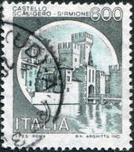 A stamp printed in Italy, shows Scaligero Castle, Sirmione, circa 1980 — Stock Photo