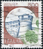 A stamp printed in Italy, shows Rovereto Castle, circa 1980 — Stock Photo
