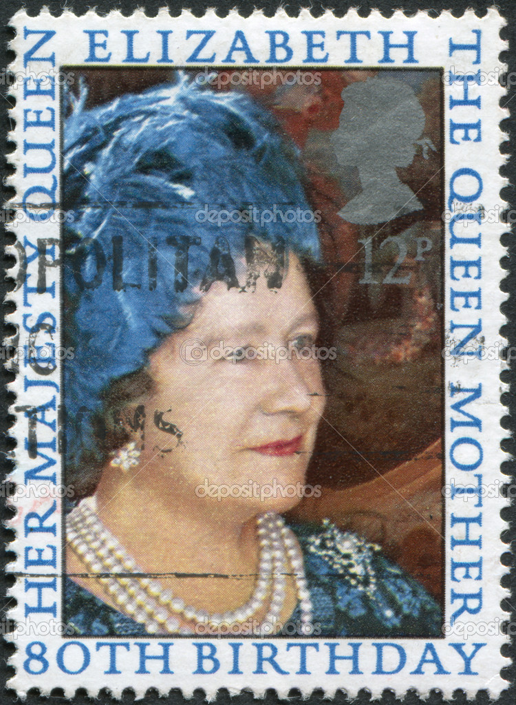 UNITED KINGDOM - CIRCA 1980: A stamp printed in England, dedicated to the 80th anniversary of the Queen Mother Elizabeth, circa 1980 — Stock Photo #12213827