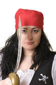A woman dressed as a pirate — Stock Photo