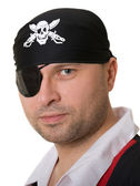 Man dressed as a pirate in the — Stock Photo