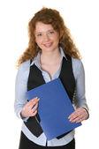 Beautiful business woman with folder — Stock Photo