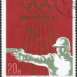 Stock Photo: ROMANI- CIRC1972: stamp printed in Romania, dedicated to summer Olympic Games in Munich, 72, shows Shooting sport, Handgun, circ1972