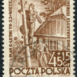 POLAND - CIRCA 1952: A stamp printed in the Poland, dedicated to the 6-year plan, electrification, circa 1952 - Stock Photo