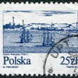 POLAND - CIRCA 1982: A stamp printed in the Poland and depict the ships on the river Vistula near Gdansk (copper engraving, 18th century), circa 1982 — Foto de Stock