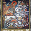ROMANIA - CIRCA 1971: A stamp printed in the Romania, shows a fresco of St. George, Moldovita Monastery, circa 1971 — Zdjęcie stockowe