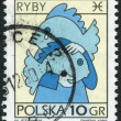 POLAND - CIRCA 1996: A stamp printed in the Poland, shows a sign of the zodiac, Pisces, circa 1996 — Stock Photo