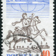 POLAND - CIRCA 1986: A stamp printed in the Poland, shows a postman on horseback in Breslau and jet aircraft, circa 1986 — Stock Photo #12362426